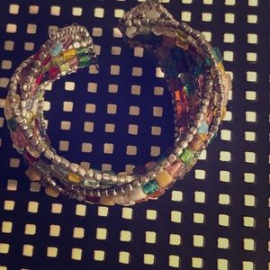 Multicolored beaded cuff